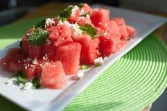 Salade d'été de menthe et de feta de pastèque Image stock