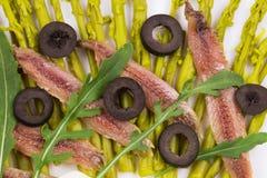Salade d'asperge avec des anchois Images stock