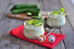 Salade d'avocat avec du yaourt Photographie stock libre de droits