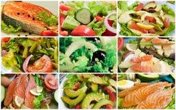 Salade d'avocat de poissons de collage images libres de droits