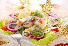 Salade d'harengs avec la pomme Images libres de droits