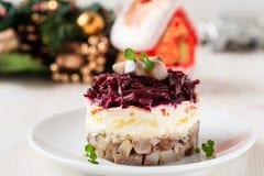 Salade d'harengs russe Photo libre de droits