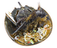 salade d'oeufs de crabe en fer à cheval sur un aliment local thaïlandais de plat images libres de droits