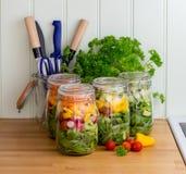 Salade dans des pots en verre de stockage avec des ustensiles images stock