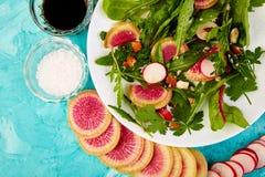 Salade dans le plat blanc autour de l'ingrédient Images stock