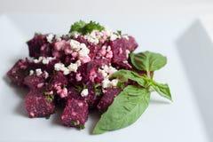 Salade de betteraves avec du feta, le persil et le basilic Photo stock