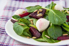Salade de betteraves avec du mozzarella photo libre de droits