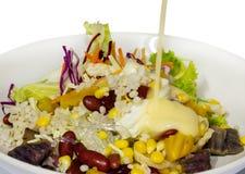Salade de céréales avec de la salade crème Photographie stock libre de droits