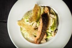 Salade de César avec des saumons Le plat de restaurant images libres de droits