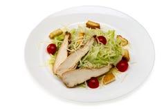 Salade de César avec le poulet dans un plat sur un fond blanc Photographie stock