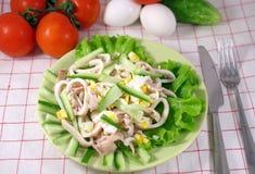 Salade de calmar avec l'oeuf Image libre de droits