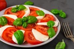 Salade de Caprese avec les tomates et le fromage mûrs de mozzarella, feuilles fraîches de basilic sur le fond concret foncé Nourr photographie stock libre de droits