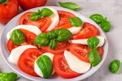 Salade de Caprese avec les tomates et le fromage mûrs de mozzarella, feuilles fraîches de basilic sur le fond concret Nourriture  photographie stock libre de droits