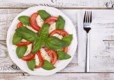 Salade de Caprese sur la table en bois Photographie stock libre de droits
