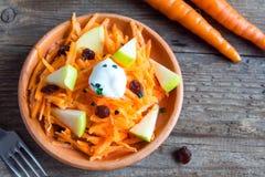 Salade de carotte et de pomme avec des raisins secs photographie stock libre de droits