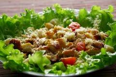Salade de Cezar avec le poulet et les tomates Photographie stock libre de droits
