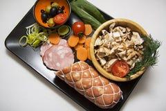 Salade de champignon de couche plat d'en haut Photos stock