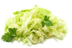salade de choux avec le persil d'isolement sur le fond blanc photos stock