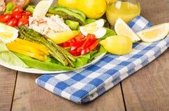 Salade de crabe avec l'asperge Photographie stock