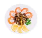 Salade de crevette avec des champignons Photos libres de droits