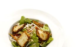 Salade de fromage de Halloumi du plat blanc photos libres de droits