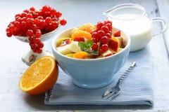 Salade de fruits avec l'orange, la pomme et la groseille Images stock