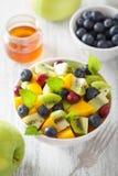 Salade de fruits avec la myrtille de kiwi de mangue pour le petit déjeuner Photo libre de droits
