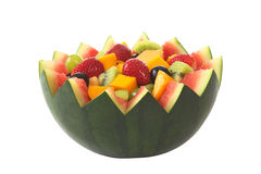 Salade de fruits dans le bol de melon Photo libre de droits