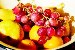 Salade de fruits ensoleillée d'été avec une mandarine et une orange photographie stock