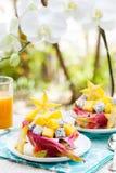 Salade de fruits tropicale dans le pitahaya, mangue, bols de fruit du dragon avec un verre de jus Image libre de droits