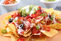Salade de guacamole avec des tortillas Images libres de droits