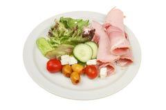 Salade de jambon d'une plaque Images stock