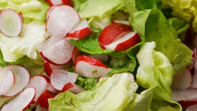 Salade de jardin avec des radis Photos libres de droits