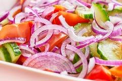 Salade de légume frais avec la vue d'oignon et de macro de tomates Image libre de droits