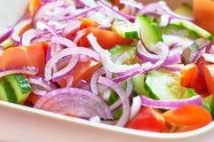 Salade de légume frais avec la vue d'oignon et de macro de tomates Photos libres de droits