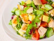 Salade de légumes frais avec le poulet et le fromage images libres de droits