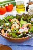 Salade de la crevette rose du roi Photos stock
