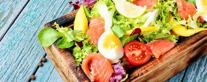 Salade de laitue avec des saumons photographie stock libre de droits
