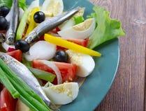 Salade de Nicoise avec des anchois Images stock