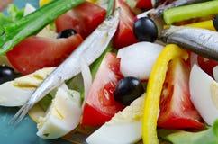 Salade de Nicoise avec des anchois Photo stock