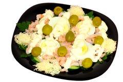 Salade de Noël avec les crevettes roses communes Photo libre de droits