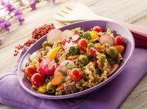 Salade de pâtes mélangée froide avec le thon Photo libre de droits