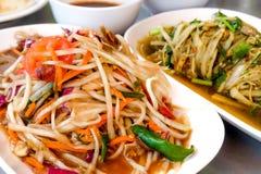 Salade de papaye également connue sous le nom de ventre de som de Thaïlande Photographie stock libre de droits