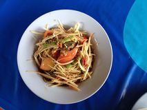 Salade de papaye de Somtam Image libre de droits