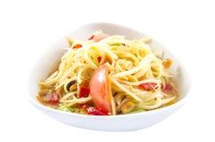 Salade de papaye ou ventre thaïlandaise de som Photographie stock