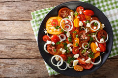 Salade de plan rapproché coloré de tomates, d'oignon et de fromage bleu Hori Photo stock