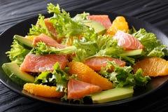 Salade de plan rapproché de frisee de saumons, d'oranges, d'avocat et de laitue dessus Photographie stock