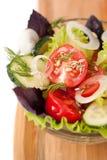 Salade de plan rapproché de légumes frais : concombres, tom Image libre de droits