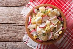 Salade de pomme de terre avec le radis et les oeufs dans une cuvette vue supérieure horizontale Images stock