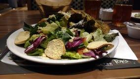 Salade de poulet fraîche avec des croûtons de pain photographie stock